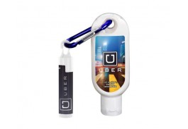 1.9 Oz. SPF 15 Lip Balm and Clear Sanitizer with Carabiner
